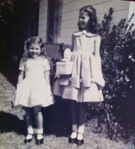 Melody and Fawn all ready for church, Easter 1959