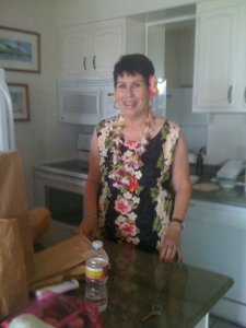 My beautiful sister in our kitchen at Lahaina Shores, June 2011.