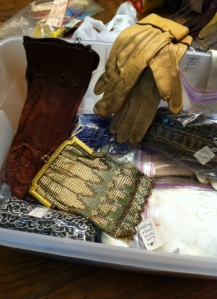 A glimpse of vintage goodies.  The mesh purse in the center is a Whiting & Davis -- very nice!