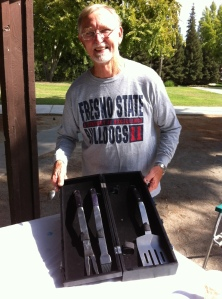 The Pro from Dover with his engraved case full of barbecue tools!