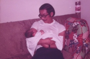 Ken with baby Joseph, our first day home.  April 16, 1973.