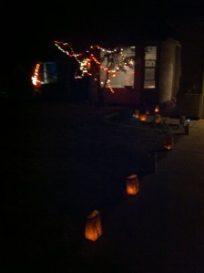 Luminaria along the driveway...and one has been blown out again.