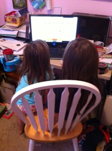Sisters at Grammy's computer