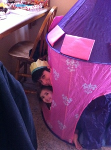 Olivia and Erika hanging out in the castle tent