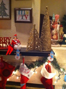 Perfect accents next to the tree (that's Sparkles, our Elf, keeping watch).
