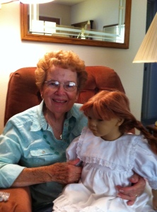 Aunt Betty and her Annette Himstedt doll.