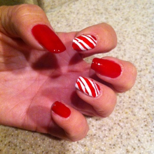 My Christmasy nails, compliments of Georgia.