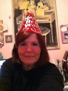 Selfie with party hat...in cursive.