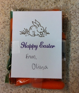 "Baby Carrots for Olivia's classmates...Close To My Heart ""Some Bunny"" stamp with chocolate and lagoon inks."