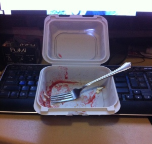 All that was left of my Sicilian cheesecake with strawberry sauce.