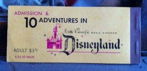The back of the coupon booklet.  This was an adult ticket, and for $3.75 you got admission to Disneyland and 10 adventures (a $5.50 value).  Those were the days!