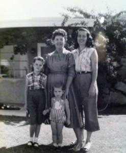 Me with the women who taught me how to be a mother.  (l - r:  Me, Grammy Buffington, Mom, and Melody in the front)