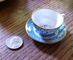 This little Spode cup and saucer is beyond adorable.  (The quarter is there for scale.)