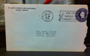 The envelope containing the bill for Mom's hospital stay in October 1949.