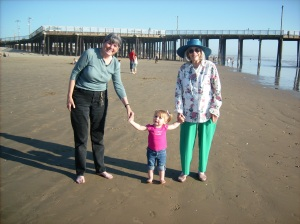 My favorite picture ever...Grammy, Lily, and Great Grammy at Pismo Beach.
