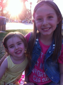 My girls waiting for their granddad's concert to begin.