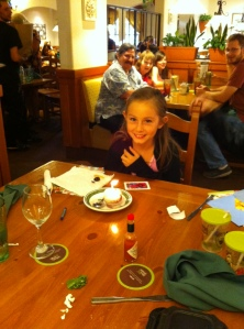 Lily and her birthday dolcini at Olive Garden