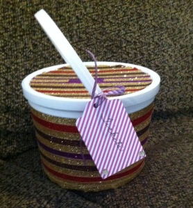 My completed ticket bucket, using Shimmer Trim compliments of Close To My Heart.