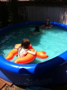 The swim buddies out in Kora's pool.