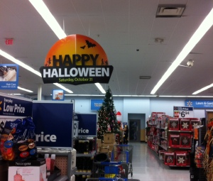 """""""Happy Halloween"""" in the foreground, with a Christmas tree in the background...Thanksgiving was nowhere to be seen!"""